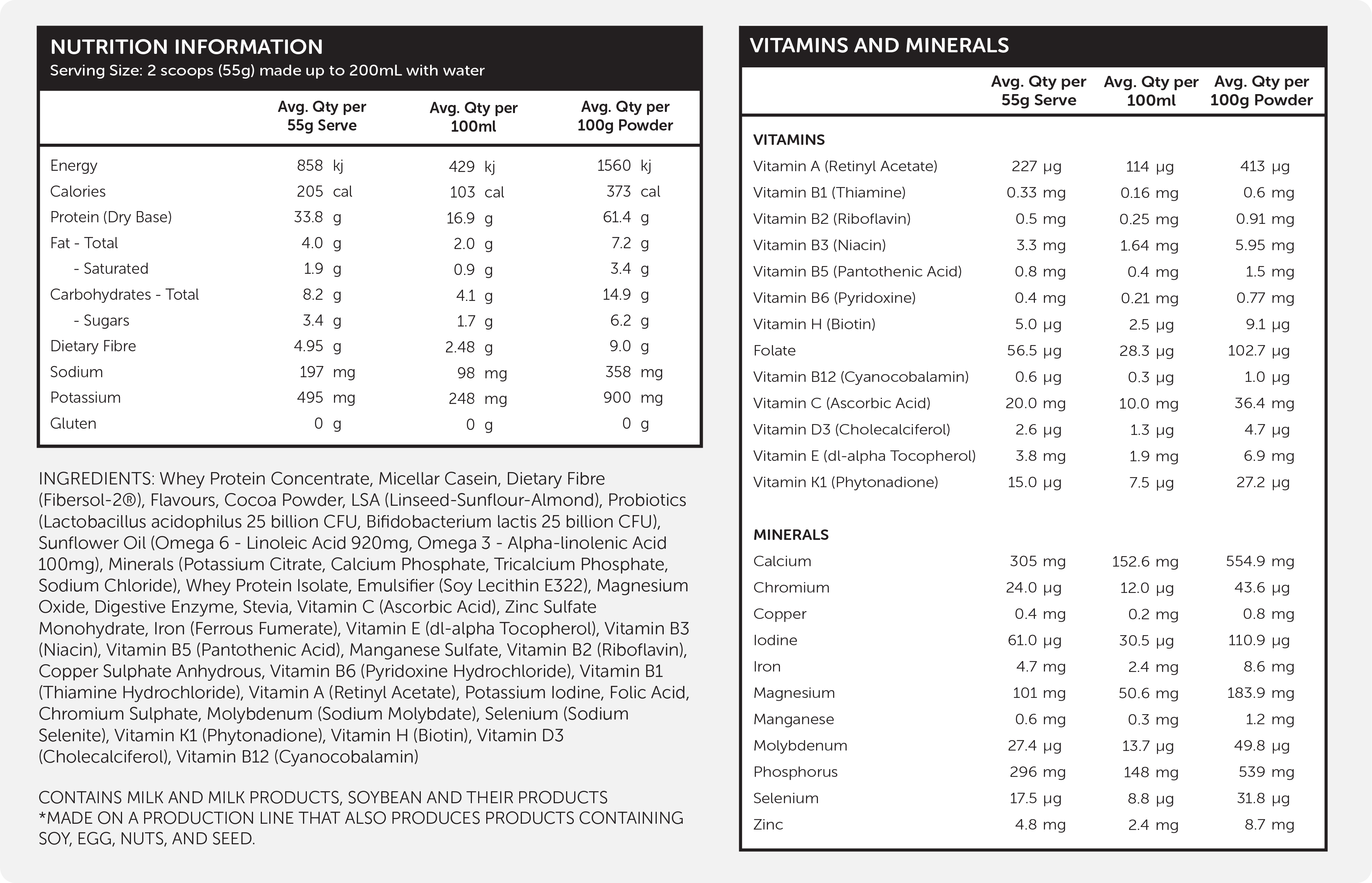 nutrition information Formulite protein shake/ meal replacement shake